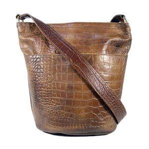 SAKS FIFTH AVENUE Vintage Croc Leather Crossbody